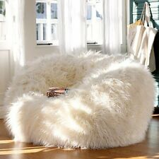 NEW X-Large 120cm / Large 90cm White Faux Fake Shaggy Fur Bean Bag Beanbags.