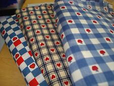 100% Cotton Fabric – Novelty Checks – Blue White Red – Hearts Apples – BTHY – #1