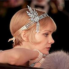 The Great Gatsby Inspired Tiara Crown Flower Clear Crystal Wedding Jewelry Crown