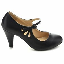 Black Work Office Pumps Round Toe Mid Heel Mary Jane Dress Women's Court Shoes