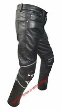 MENS SEXY REAL BLACK LEATHER MOTORCYCLE BIKERS PANTS JEANS TROUSERS - J7