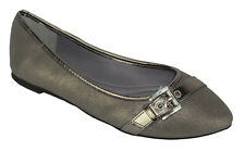 City Classified Women Casual Flat Shoe Pointy Toe Silver Gel Insole Comfy BROIL