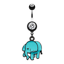 Super Cute Elephant Belly Navel Button Ring Black 14G