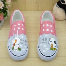 Women Hand-painted Cute Cartoon Rabbit & Cow Comfortable Slip-on Canvas Shoes