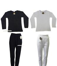Womens Thermal Cotton Long Sleeve Spencer Long Johns Pants Black White Underwear