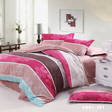 100% Cotton Doona Covers Double/Queen/King Bed Size Fitted Sheet Quilt Cover Set