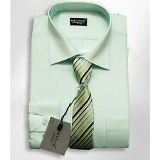 Boys Formal Mint Shirt And Tie Set Wedding Prom Suit Smart Device Shirts