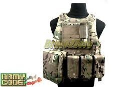 MOLLE FSBE Style Plate Carrier Vest 6 Pouches Bk Coyote Brown Multicam AIRSOFT