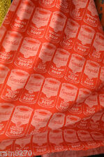 CAMPBELLS SOUP CAN ANDY WARHOL RED GREY  FQ or YARDS (90cm) FABRIC MATERIAL NEW