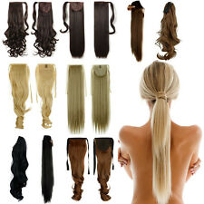 Drawstring tie up Wrap around/Clip in Ponytail Hair Extension Wavy Straight