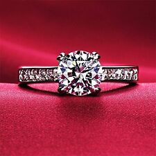 18k White Gold Gp AAA Zircon Swarovski Crystal Mini Heart Lady Engagement Ring