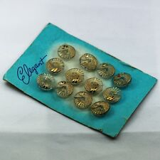 ANTIQUE CARD of 12Pcs Transparent Czech Glass Round Buttons Decorated with Gold