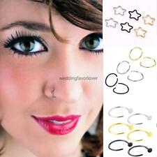 3 Pair Stainless Steel Fake Clip On Nose Ring Star Circle Open Nose Hoop Ring