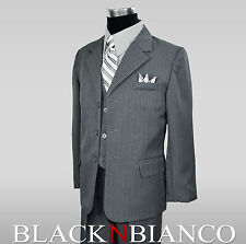 Boys Pinstripe Suit in Grey with Shirt and Tie 2 3 4 5 6 7 8 10 12 14 16 18 20