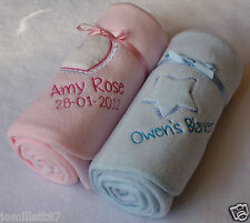 Embroidered Personalised Baby Blanket,Star or Heart Design, Top Quailty Gift