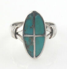 Oval Oblong Cross Turquoise Stone Inlay 925 Sterling Silver Ring