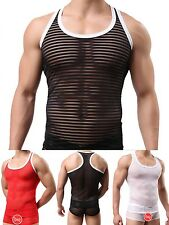 New Men's Lingerie Underwear Sexy See-through Transparent Striped Tank-Top Vest