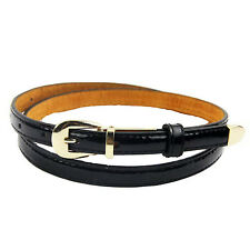H1 Modern Women's Candy Color Pu Leather Thin Belt Thin Skinny Waistband-black