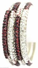 Indian Handmade Sparkling Crystal Multicolor Clear Maroon Bracelets Bangles 4pcs
