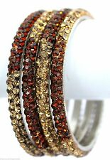 Indian Handmade 3 Row Bling Lac Crystal 2 Tone Brown Gold Bracelets Bangles 4pcs