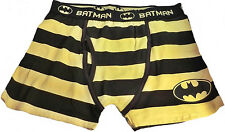 DC Comics BATMAN Logo Black/Yellow Striped BOXER BRIEFS - Multiple Sizes Avail.