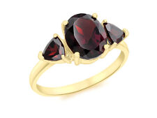 9ct Yellow Solid Gold Oval And Triangle Garnet Ring hallmarked Gift Boxed