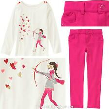 NWT Gymboree 5 6 7 8 10 VALENTINES DAY 2pc Playing Cupid Top & Heart Ponte Pants