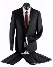 NEW MENS BLACK PIPING TRIM SLIM FIT SUIT JACKET WITH TROUSER PANTS