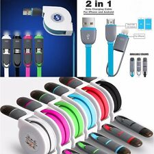 2in1 Retractable USB Data Charge Charging Cable Cord for iPhone Samsung Android