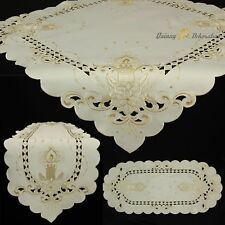 Embroidered Cutwork Christmas Candles Floral Tablecloth TableTopper table runner