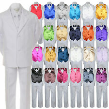 7pc Boys Baby Toddler Kid Formal Wedding White Tuxedo Suits Vest Set Bow Tie S-7