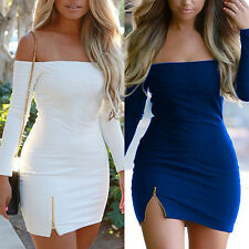 Handy Women Sexy Bodycon Dress Solid Long Sleeve Boat Neck Backless Pencil