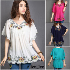 Vintage Mexican Floral Embroidered Batwing Mini Dress Women Tunic Blouse Tops