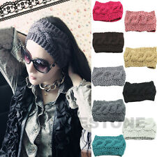 9 Colors Crochet Headband Knit Flower Hairband Winter Women Ear Warmer Headwrap