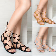 WOMENS LADIES SUMMER FLAT ROPED LACE UP SUMMER EVENING FASHION SANDALS SIZE