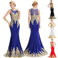 Sexy Appliques Mermaid Wedding Evening Gown Bridesmaid Prom Cocktail Party Dress
