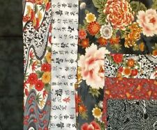 Korakuen Quilt Oriental Patchwork Kit - Fabric & Pattern, Quilting, Florals Grey