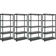 5 TIER BLACK PLASTIC SHELVING SHELVES SHOP OFFICE RACKS STORAGE SHELF UNIT NEW