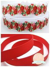 2 Yards Beautiful Red Roses Floral Grosgrain Ribbon 1 Inch or 3/8 Inch Hair Bow