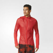 Adidas Adizero Mens Red Track Work Out Running Sports Long Sleeve Jacket Top