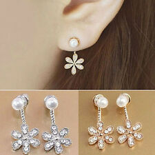 Korean Style Faux Pearl Rhinestone Crystal Flower Stud Earrings