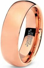 Tungsten Wedding Band Ring 7mm for Men Women Comfort Fit 18K Rose Gold Plated