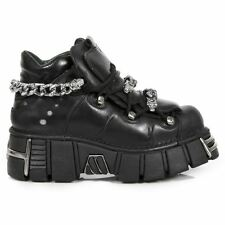 NEWROCK New Rock 616-S1 Black Mens Leather Metallic Chains Goth Punk Biker Boot
