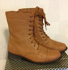 Collection By Carrini Women's Lace Up Combat Boots ~ Cognac ~ 6.5M ~ New In Box
