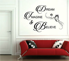 Dream Imagine Believe Bedroom Wall Sticker Quote Living Room Decal Words 429