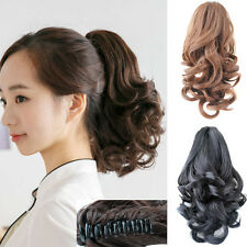 """Women Short Wavy Claw Ponytail Hairpiece Clip-in Hair Extensions 14"""""""