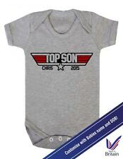 "PERSONALISED Baby Grow ""Top Son""  With Personalised NAME and DOB- Baby Grow"