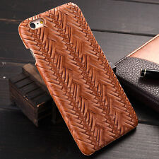 High Quality Woven Pattern PU Leather Back Phone Case Cover For Apple Samsung