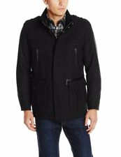 COLE HAAN Men's Black Wool Military Car Coat Jacket Leather Trim $525! 534AW562