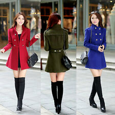 Fashion Winter Warm Womens Fleece Wool Coat Trench Parka Jacket Outwear Overcoat